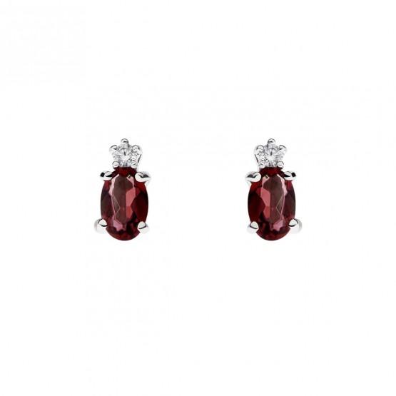 Pendientes oro blanco con rubí y diamante (0516003R)