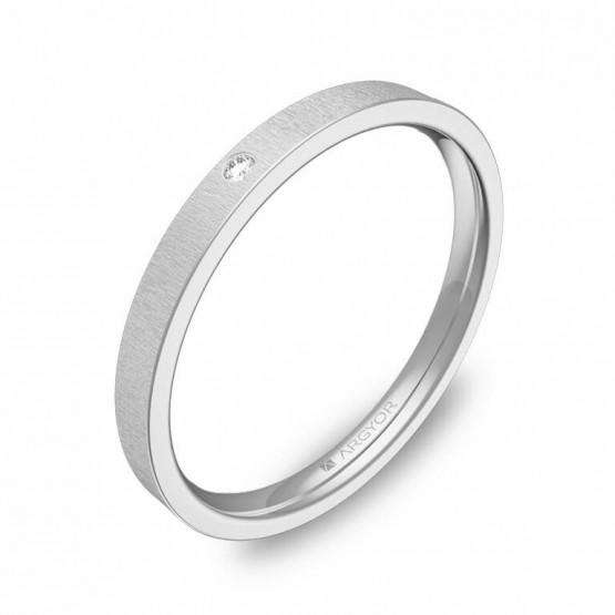 Alianza de boda 2mm oro blanco rayado 1 diamante B0120T1BB