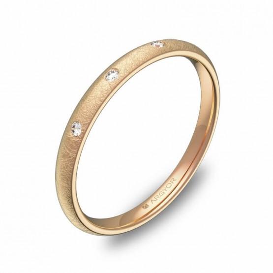 Alianza de media caña 2mm oro rosa hielo con diamantes A0120H3BR
