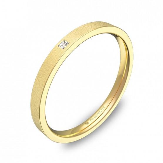 Alianza de boda 2mm oro amarillo rayado con diamante B0120T1PA