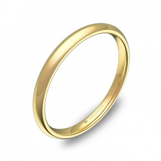 Alianza media caña gruesa 2mm oro amarillo pulido A0120P00A