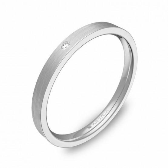 Alianza de boda de oro blanco plana gruesa 2mm y diamante B0120S1BB