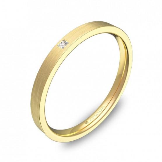 Alianza de boda 2mm en oro satinado con diamante B0120S1PA