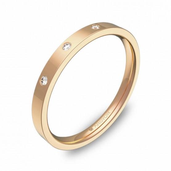 Alianza de boda  2mm en oro rosa pulido con diamantes B0120P3BR