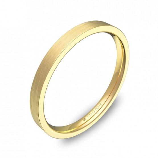 Alianza de boda plana gruesa 2mm en oro amarillo satinado B0120S00A