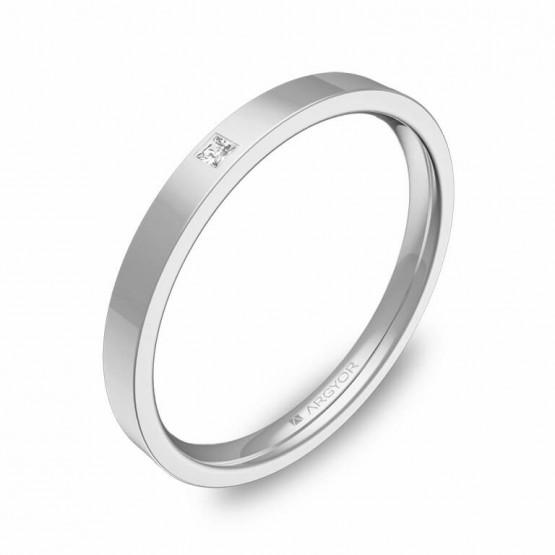Alianza de boda en oro blanco pulido con diamante B0120P1PB