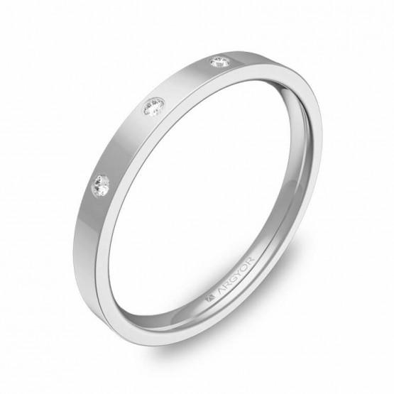 Alianza de boda 2mm oro blanco pulido con diamantes B0120P3BB