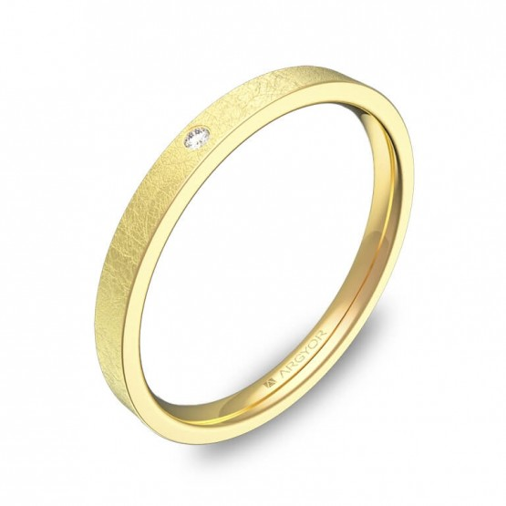 Alianza de boda en oro amarillo con 1 diamante B0120H1BA