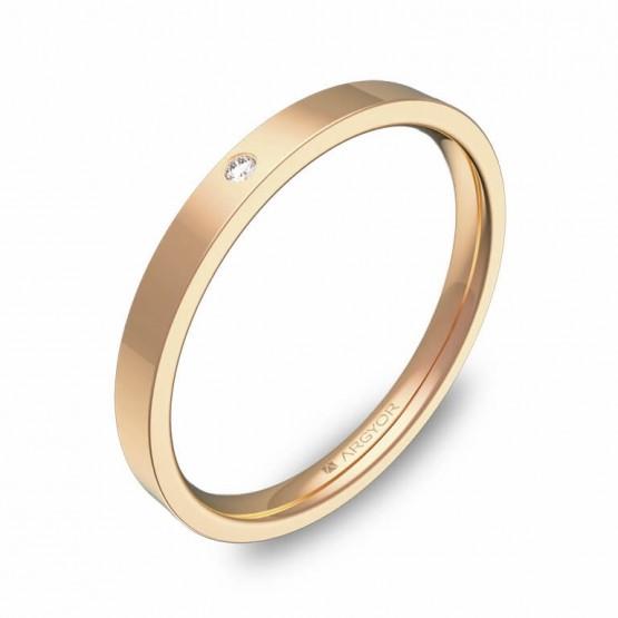 Alianza de boda plana gruesa en oro rosa pulido 1 diamante B0120P1BR