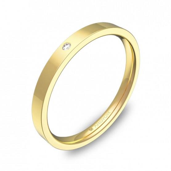 Alianza de boda plana gruesa 2mm oro pulido con diamante B0120P1BA