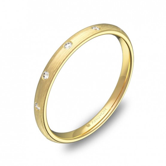 Alianza de 2mm en oro amarillo satinado con diamantes A0120S5BA