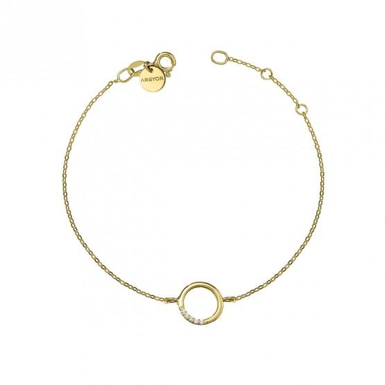 Pulsera oro 18k círculo con brillantes (76APU013)