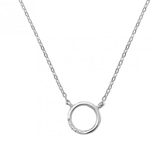 Gargantilla de oro blanco 18k círculo con 5 brillantes  (76BGA013)