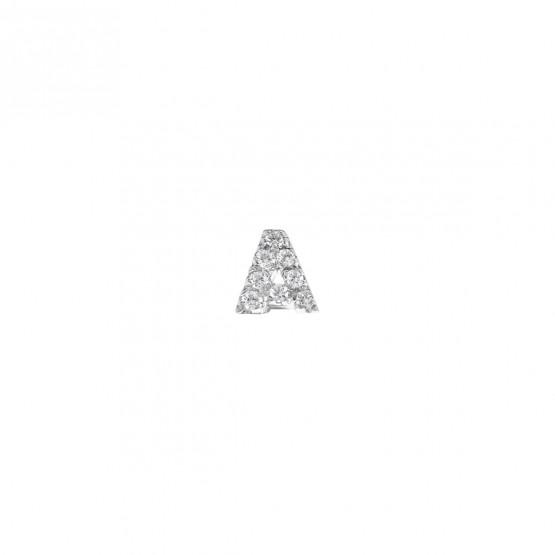 Pendiente letra oro con diamantes (0516102)-A