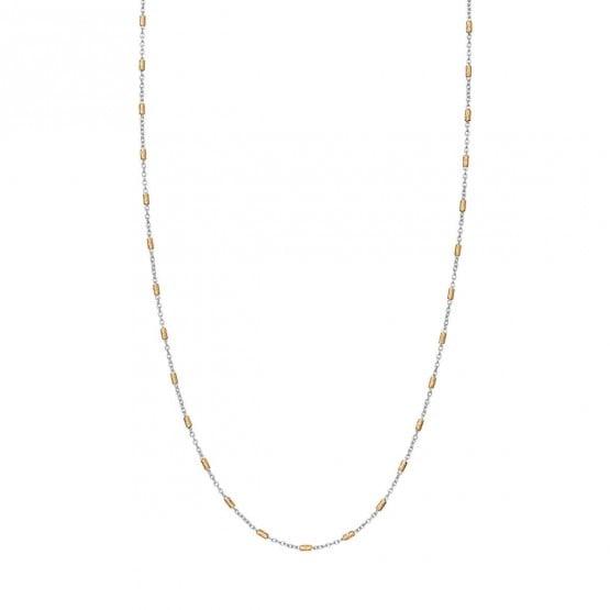 Collar oro bicolor fantasía tubitos (0410104R )