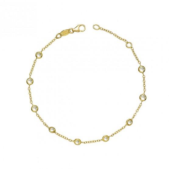 Pulsera oro amarillo 18k con 9 circonitas (043A101PUL)