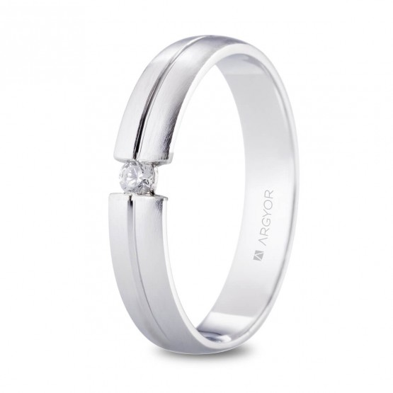 Alianza de platino con diamante en tensión (05900440D)