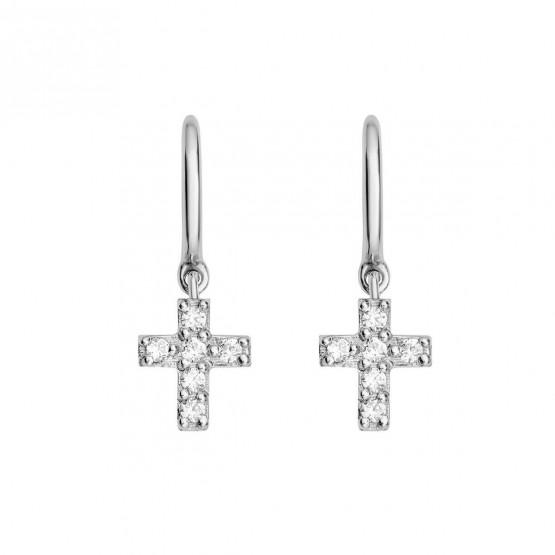 Pendientes aro con cruz de brillantes en oro blanco (061B104) 1