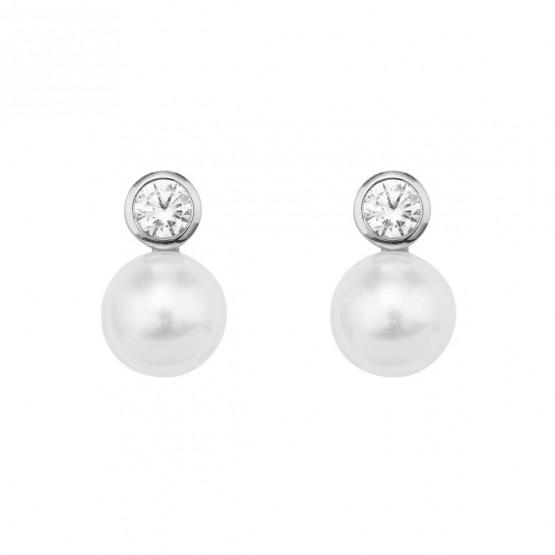 Pendientes de Oro Blanco con Diamantes y perlas (75B0100P)