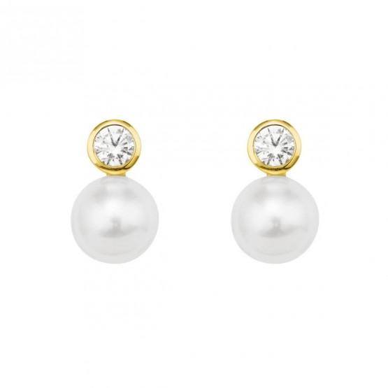 Pendientes con diamantes y perlas (75A0100P)