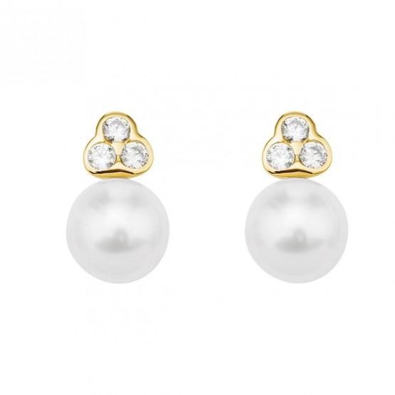 Pendientes de oro 18k perla con brillantes (75A0007Z)