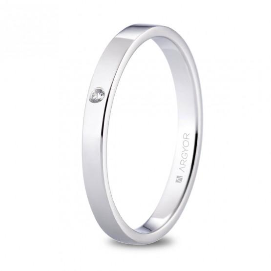 Alianza de platino plana y diamante brillante 2.5mm (05930125D)