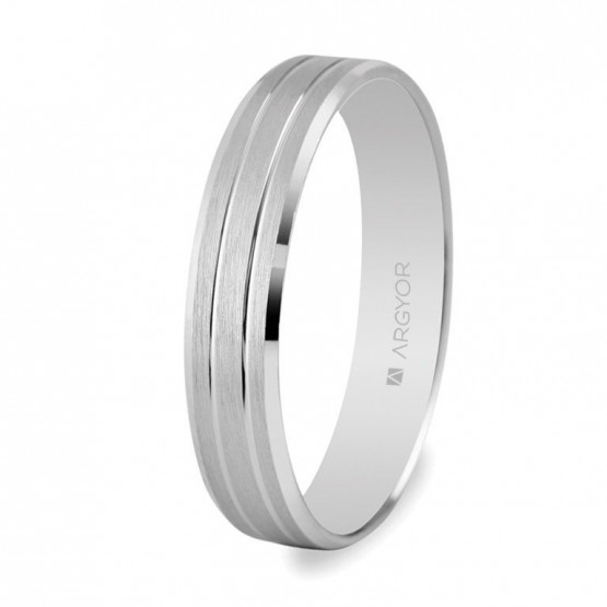 Alianza boda de oro blanco 4mm (5B40436)