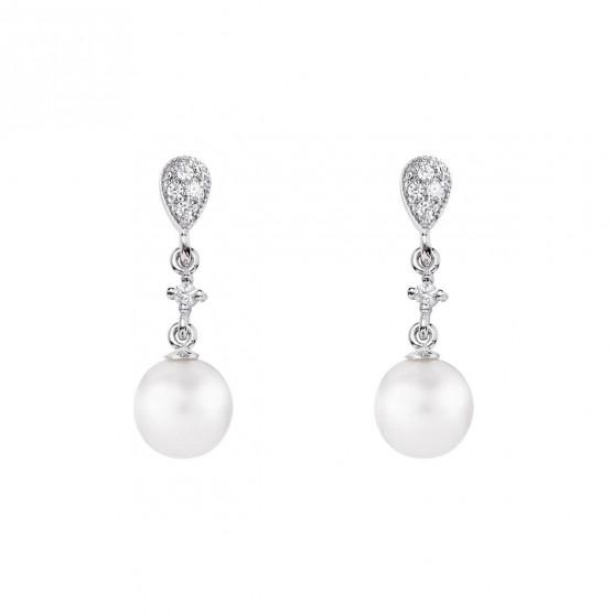 Pendientes de novia de oro blanco de18k con perlas (79B0201TD1) 1