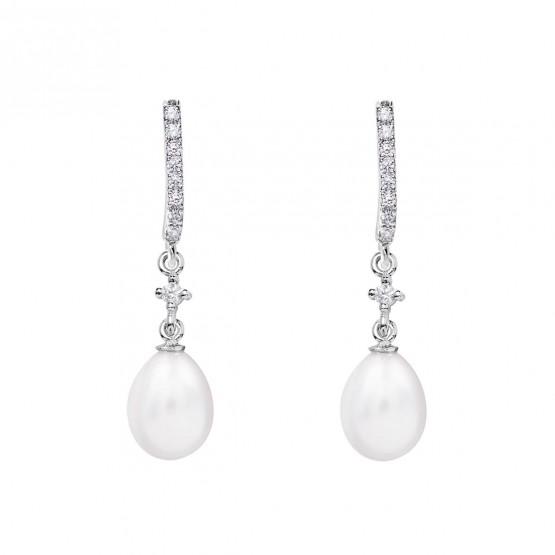 Pendientes de novia en oro blanco de18k con perlas (79B0501TE1) 1