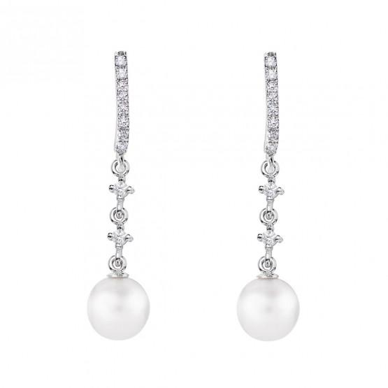 Pendientes de novia en oro blanco de18k y perlas redondas (79B0502TD1) 1