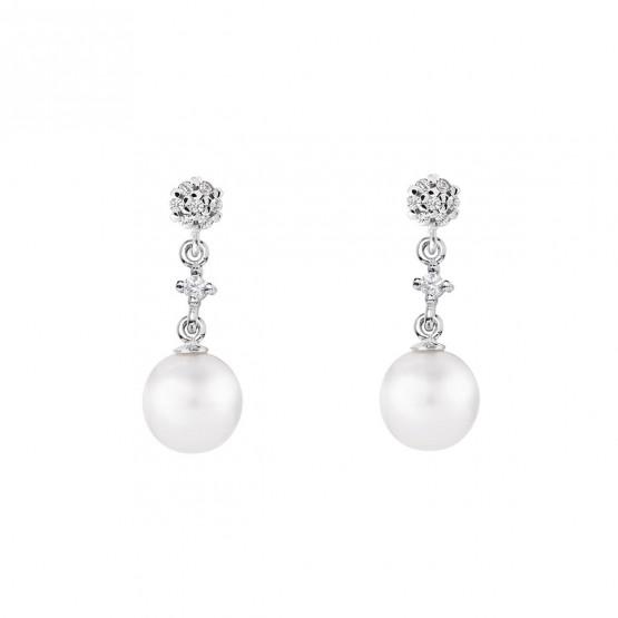 Pendientes de novia en oro blanco de18k con perlas (79B0601TD1) 1